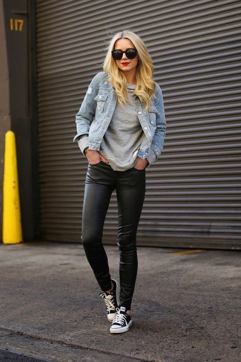 af7e1438dca2f2e20ee99e6b1905782d leather leggings with sneakers black leggings outfit spring casual - 8 ways to wear leather pants like a Rockstar!